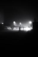 glimlach naar de mist
